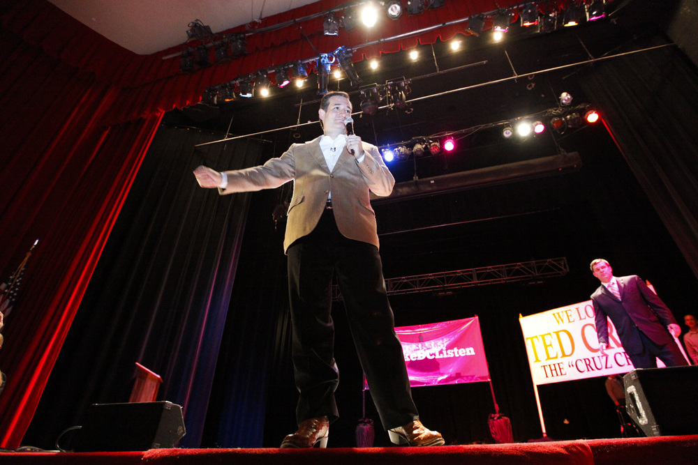"Senator Ted Cruz on stage during a ""Welcome Home"" rally in Arlington on Tuesday, Oct. 22, 2013."