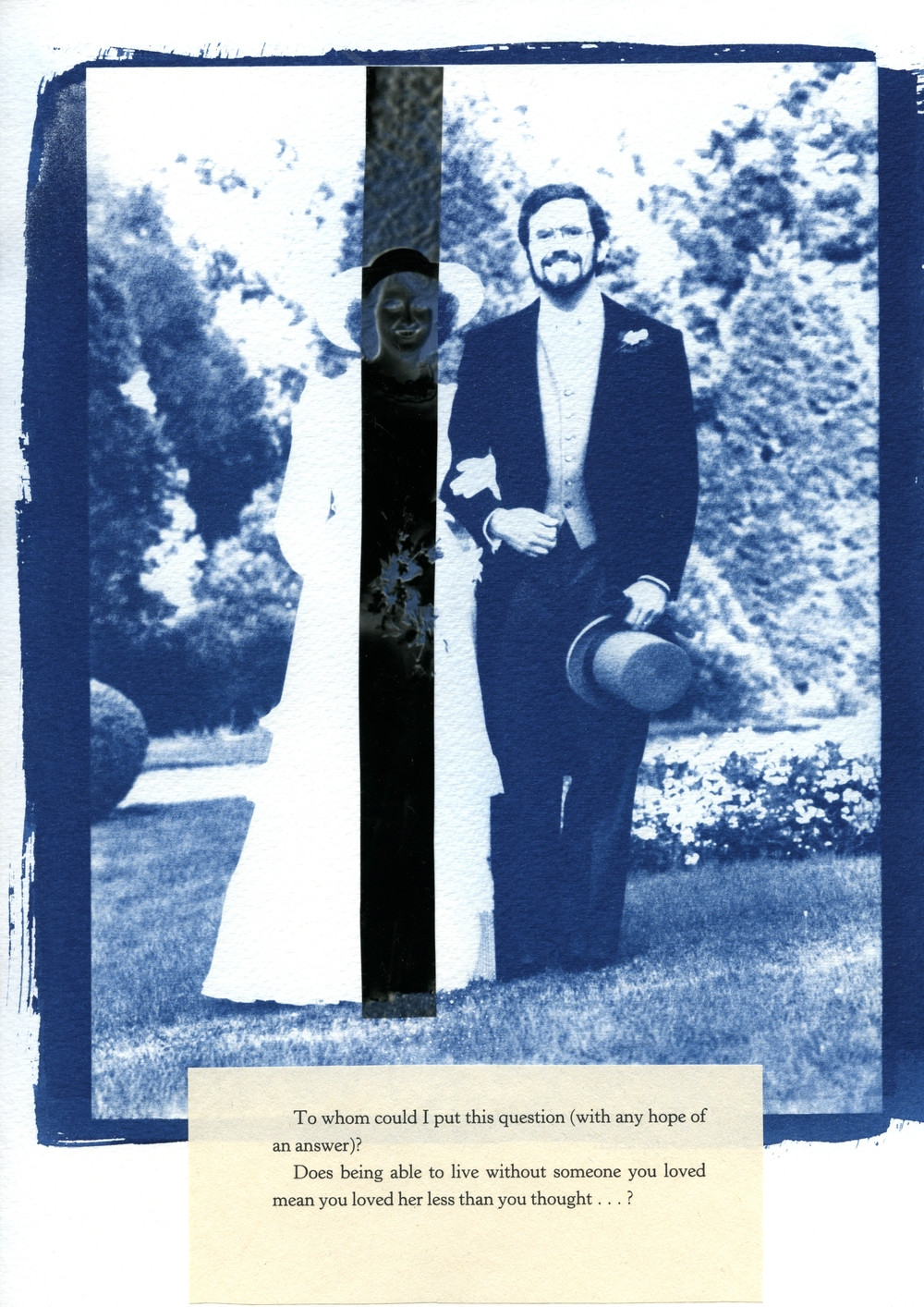 Photographs of us n.1, 2013 Cyanotype, digital negative, excerpt from Roland Barthes' Mourning Diaries, 9 x 12 inch