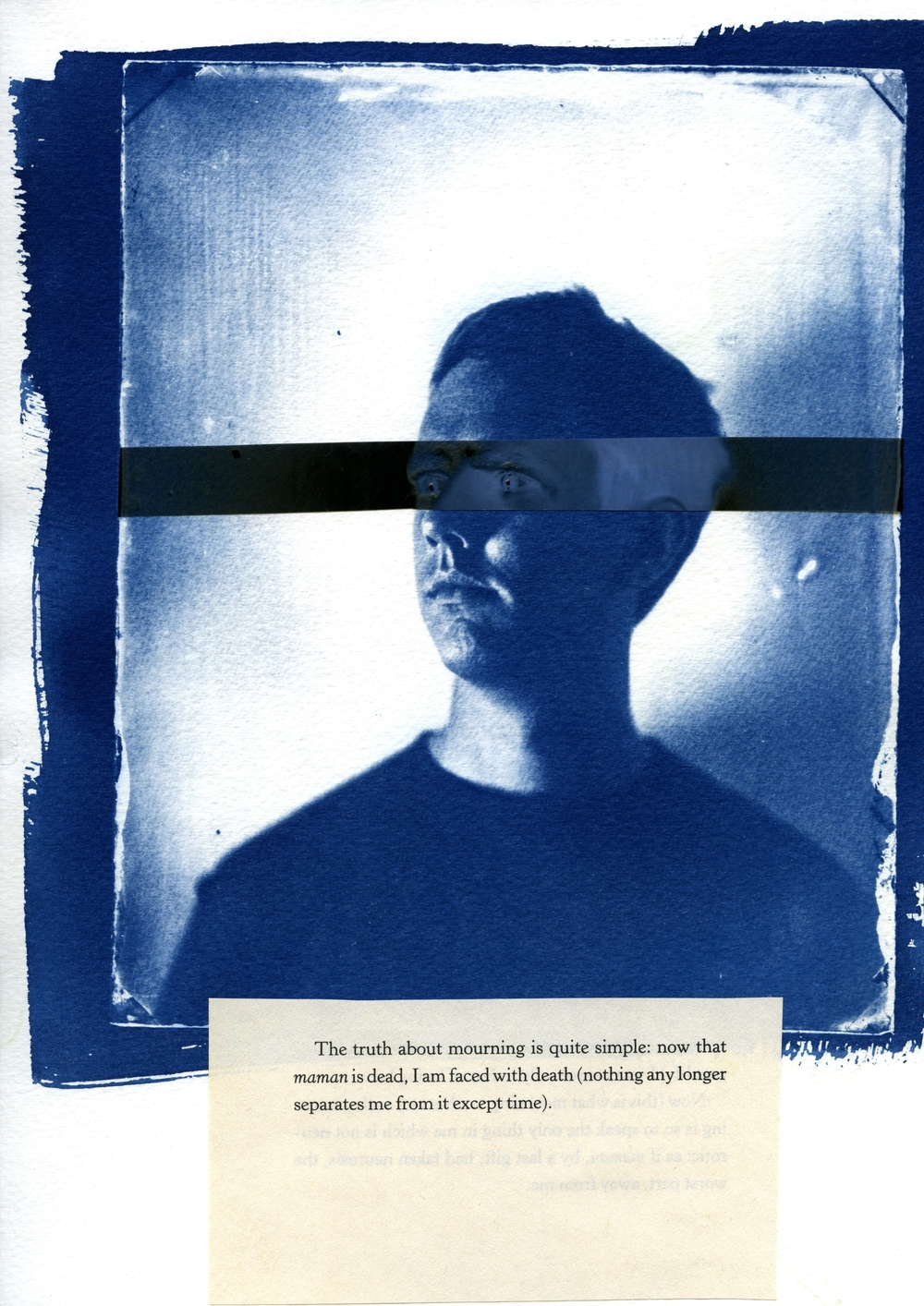 Photographs of us n.2  , 2013 Cyanotype, digital negative, excerpt from Roland Barthes' Mourning Diaries, 9 x 12 inch