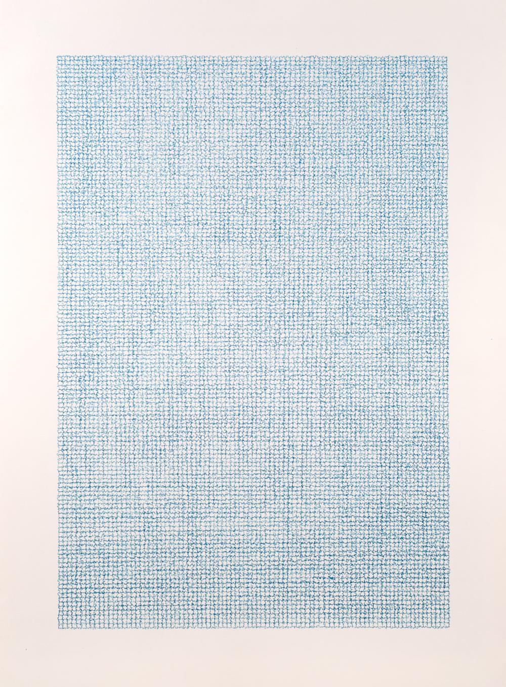 Unknown blue , 2013 / Ink on paper / 76cm x 56cm