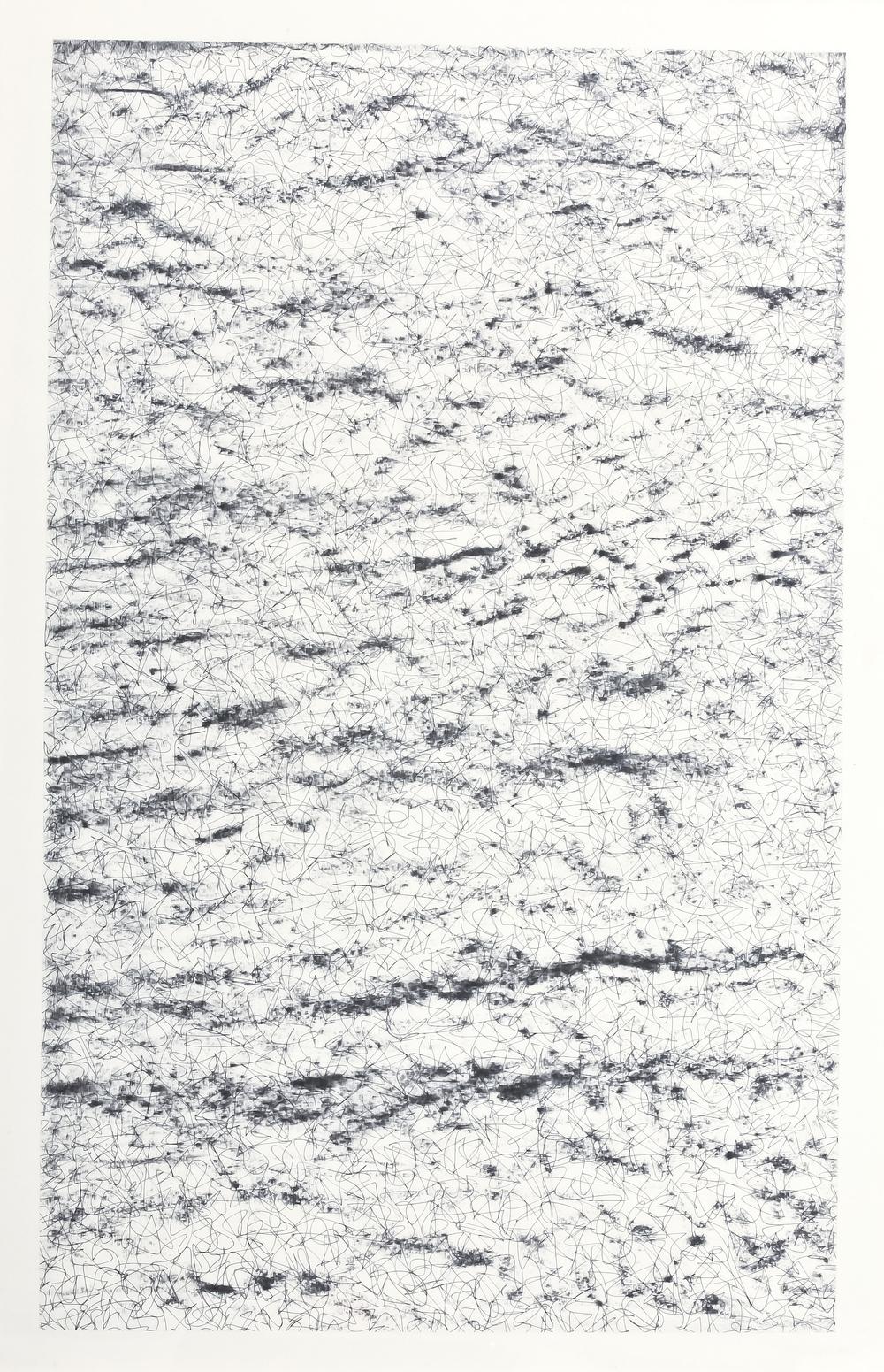 La era del nuevo atleta , 2012 / Charcoal and pen on paper / 100cm x70cm