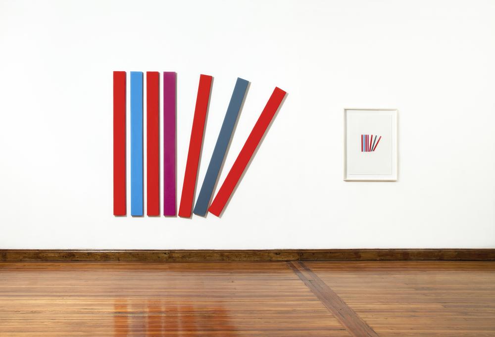 Composición de color para una caída,  2014 / Acrylic on canvas 7 of 180cm x 20cm + oil pastel on paper 96cm x 66cm / In collaboration with  MARTINA QUESADA.