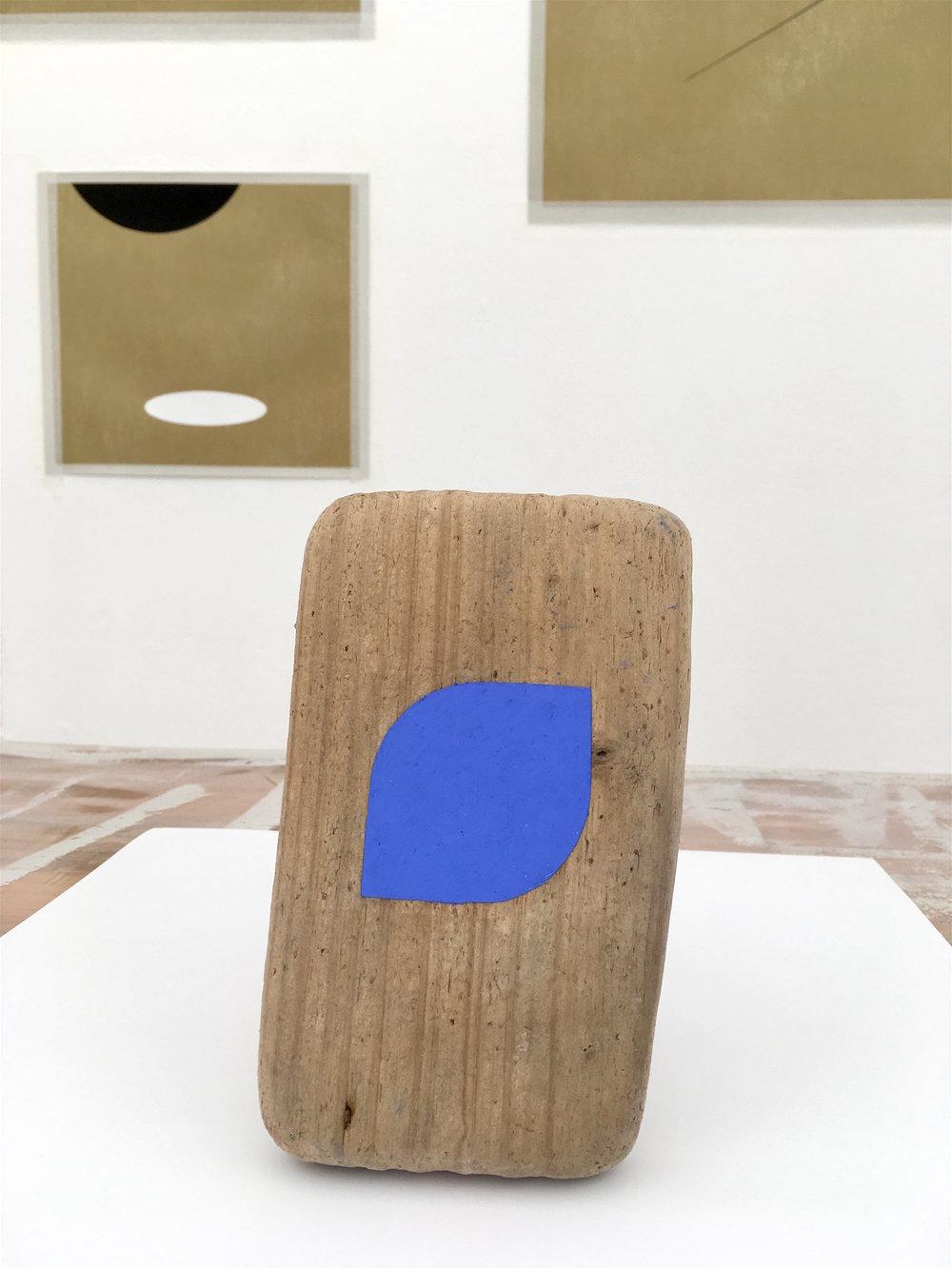 Blue seashell (Estudio del silencio),  2017 / Oil pastel on driftwood / 20cm x 12cm