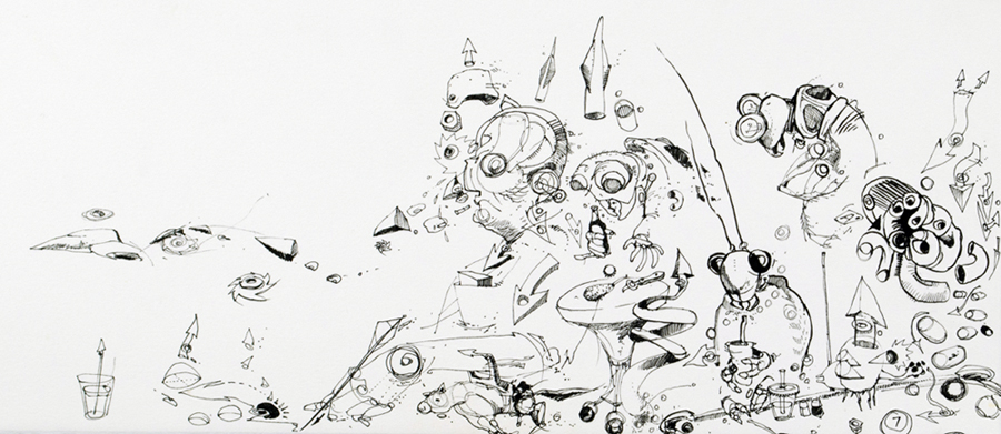 "Ink on paper. 2007. 8.5"" x 19""."