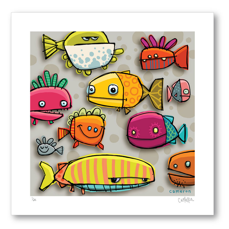 •Happy Fish Print  Limited Edition of 25 prints 16 x 16 inch extra large print on Cotton Velvet Paper - signed, numbered and bagged with board