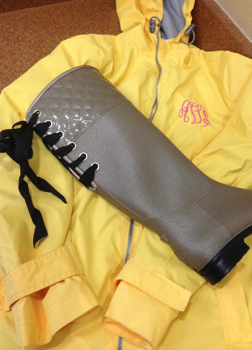 Monogrammed rain coat from Jewelry Nut Auctions. Rain boots from dav.
