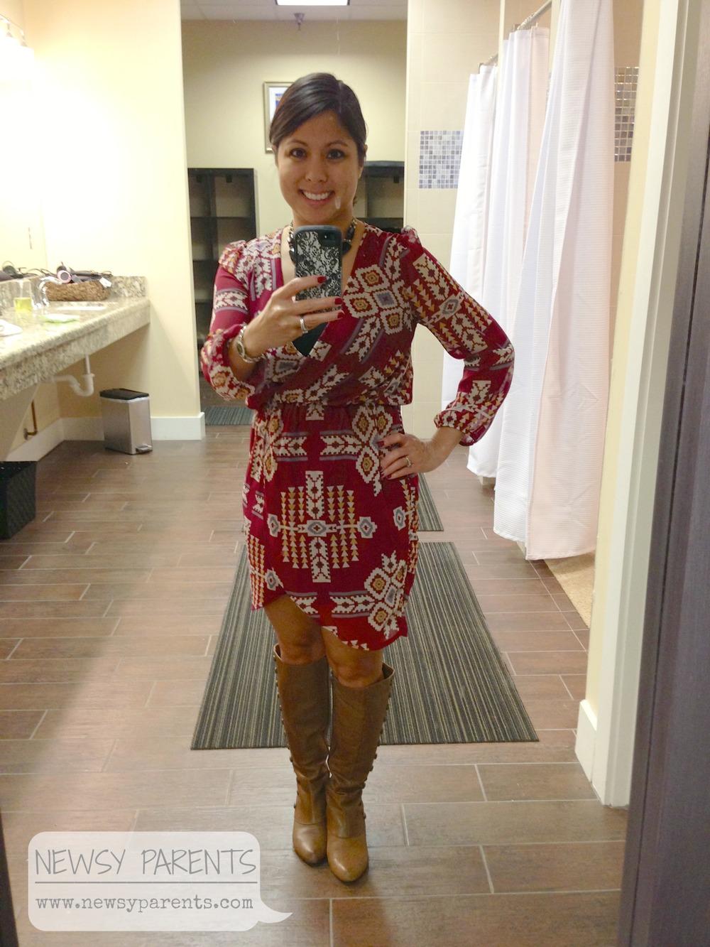 Aztec print dress from Etiquette Boutique. Boots from Joyfolie.
