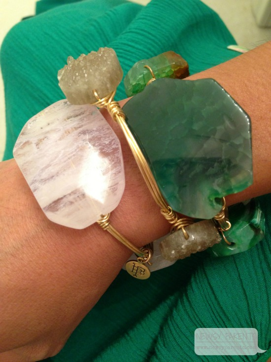 The white stone and druzy bangles are Bourbon & Boweties. The green stone bangle is made by a local artisan and purchased at Shoppe 561 in West Palm Beach. Details here.