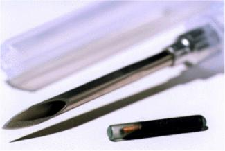 The needle and microchip with which Eduardo Kac implanted himself in front of a live audience in November 1997. His bio art performance was titled 'Time Capsule.' (Courtesy of Eduardo Kac. 5 )