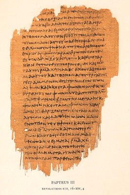 Chester Beatty Papyri (250 AD). This important papyri consists of three codices and contains most of the New Testament. (P.45, P.46, P.47). The first codex(P.45) has 30 leaves (pages) of papyrus codex. 2 from Matthew, 2 from John, 6 from Mark, 7 from Luke and 13 from Acts. Originally there were 220 pages measuring 8x10 inches each. (P.46)The second codex has 86 leaves 11x6.5 inches. 104 pages of Paul's epistles. P.47 is made of 10 leaves from Revelation measuring 9.5 by 5.5 inches.
