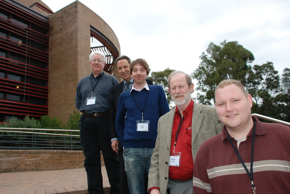 Conference Chair IEEE SSIT, Rafael Capurro, Mark Gasson, Roger Clarke, Amal Graafstra at International Symposium on Technology and Society 2010, University of Wollongong
