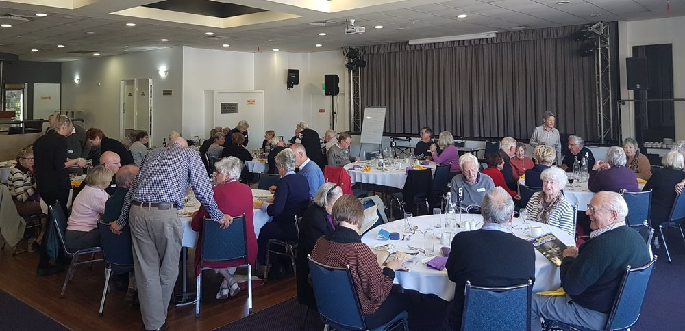Mixed Probus Kiama Harbourside Group that meets once a month at the Kiama Leagues Club, Kiama, NSW (tables at right, out of view)