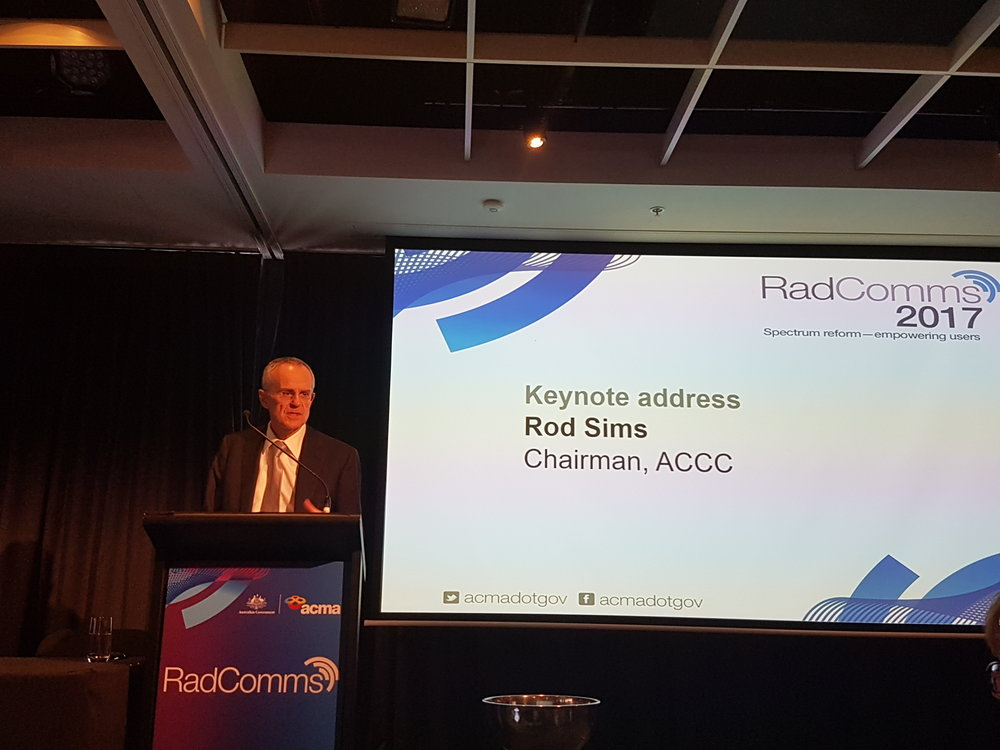 "Chairman ACCC, Mr Rod Sims giving keynote address at conclusion of Day 1. ""The economic value of the spectrum is the value it will give to the economy, not the one hit/one-off budget boost which is short-term."" Here Rod is speaking of the 5G spectrum."