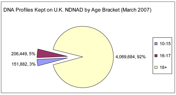 Figure 2.  DNA profiles on the NDNAD by age as of end March 2007