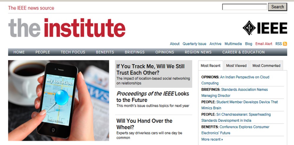 Source: IEEE - The Institute - November 13, 2012