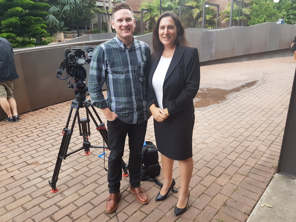 Katina Michael with Grant Reynolds, one of UOW's key media people for themes around technology.
