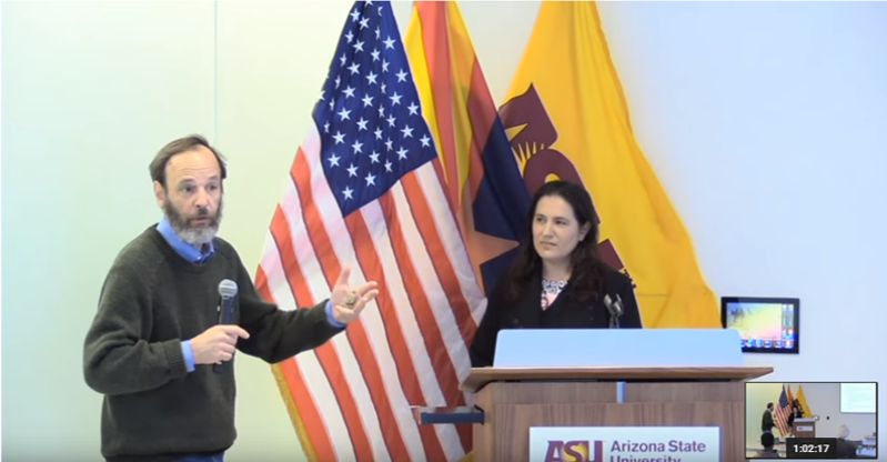 """Video: Katina Michael presents her keynote """"Rethinking Law and Order: Navigating Citizen Rights in an Age of Uberveillance"""". Daniel Sarewitz closing remarks. Length 1 hr and 5 min (inclusive 20 min discussion)."""
