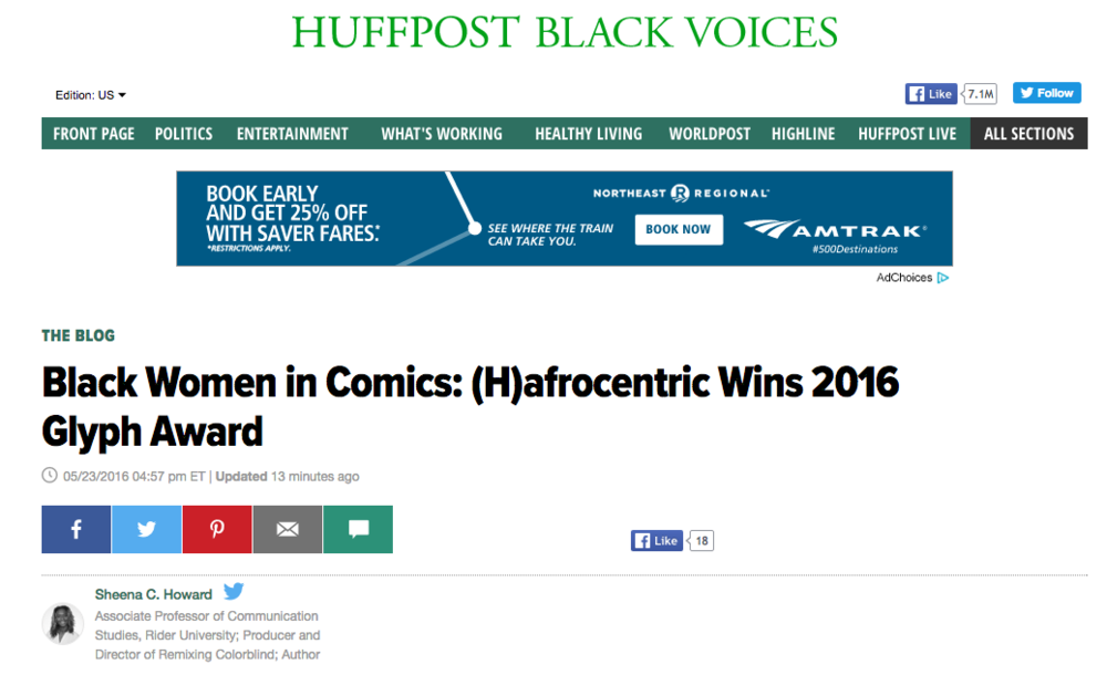 Black Women in Comics: (H)afrocentric Wins 2016 Glyph Award