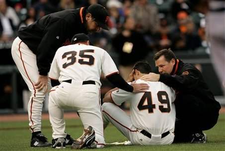 Martinez being attended to last year.