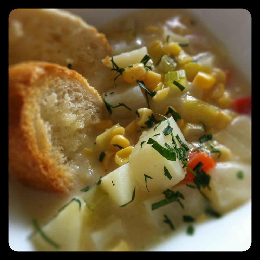 Potato Leek Corn Chowder