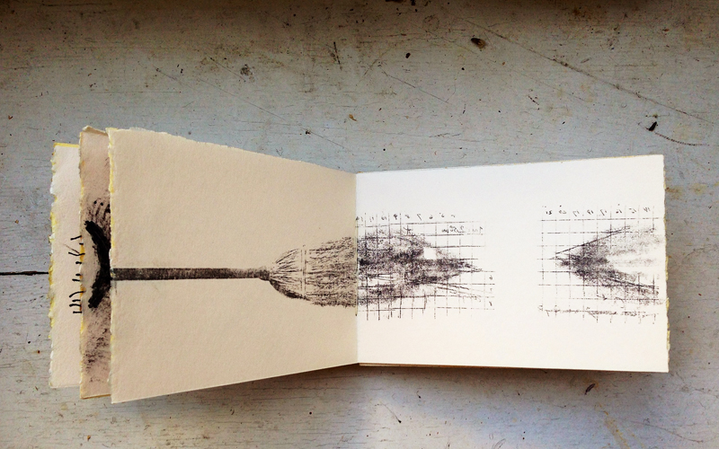 artist book > materials include: man ray photo image transfer, mascara, thread and wood