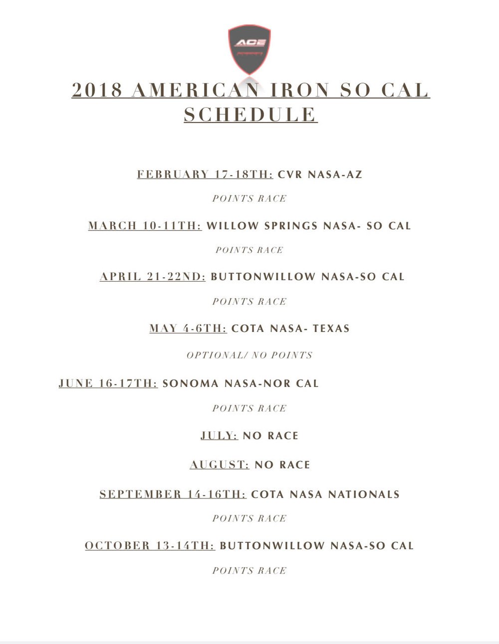 Our 2018 American Iron Race Schedule -