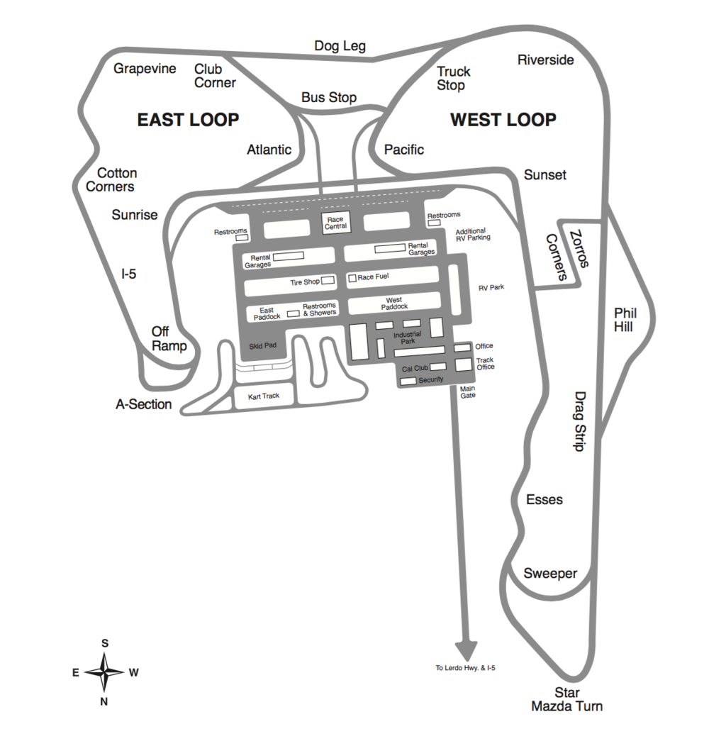 Buttonwillow Raceway - A view of our track map for round 3 on April 21st and 22nd! We will be returning back to Buttonwillow for our last race of the season on October 13th!