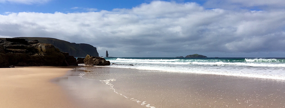 Sandwood Bay on the far north-west coast of mainland Scotland about 5 miles south of Cape Wrath. September 2016   Protected and preserved by the  John Muir Trust  and we were pleased to report it took a long time to find anything to clean up at all. Hooray!