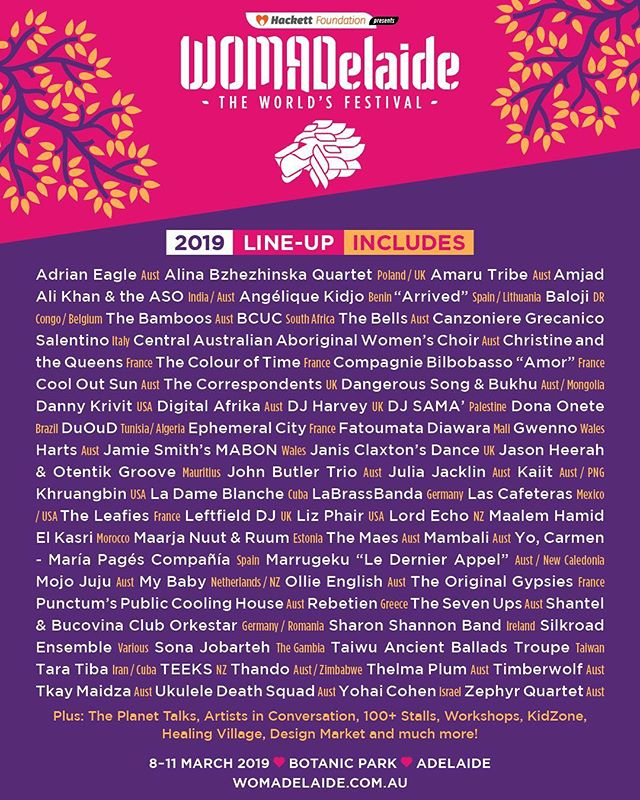 We are so very excited to be playing @WOMADelaide 2019 on their closing night as part of a stellar line up. We had such an amazing time when we last played in 2013. Tickets on sale now!
