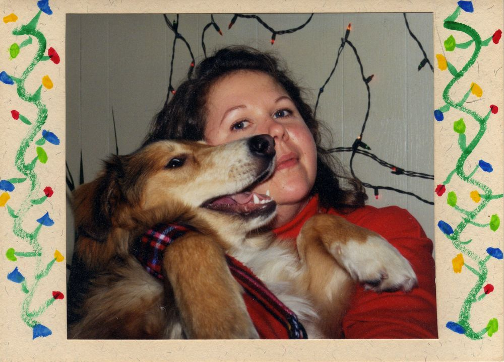 My first Christmas with my dog Sophie 1995