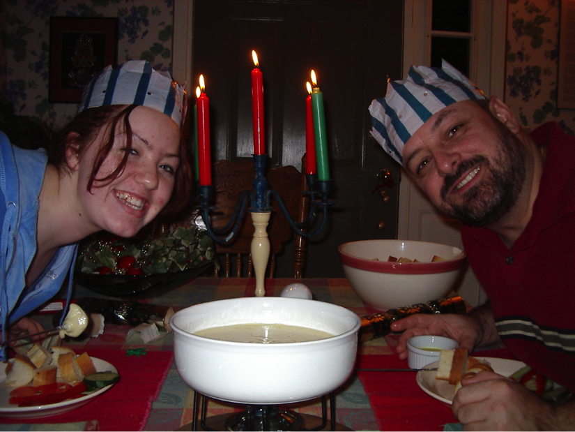 Christmas 2003, the Great Fondue Festivus! My step-daughter, Marie-Laure and Cyril.