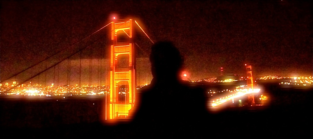 The strangest things happen when EagleSpirit takes photos... As she was attempting to highlight her client against the Golden Gate Bridge in San Francisco, she instead got his ghostly presence silhouetted against the bridge. Very apropos dontcha know!