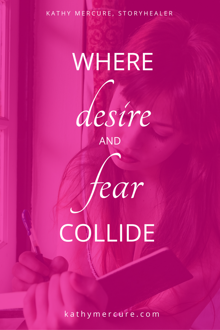 The collision point is that teeny-tiny micron of space between DESIRE and FEAR. It's the sweetly bitter spot where great expansion and change or contraction and collapse of faith happens. Read more by following the link or saving for later...