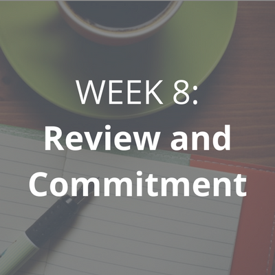 In the final week, we will meet to recap about • your successes, your visions, goals and plans • what you learned and what you want to spend more time working on • PLUS, you'll state your personal commitment to following your desires.