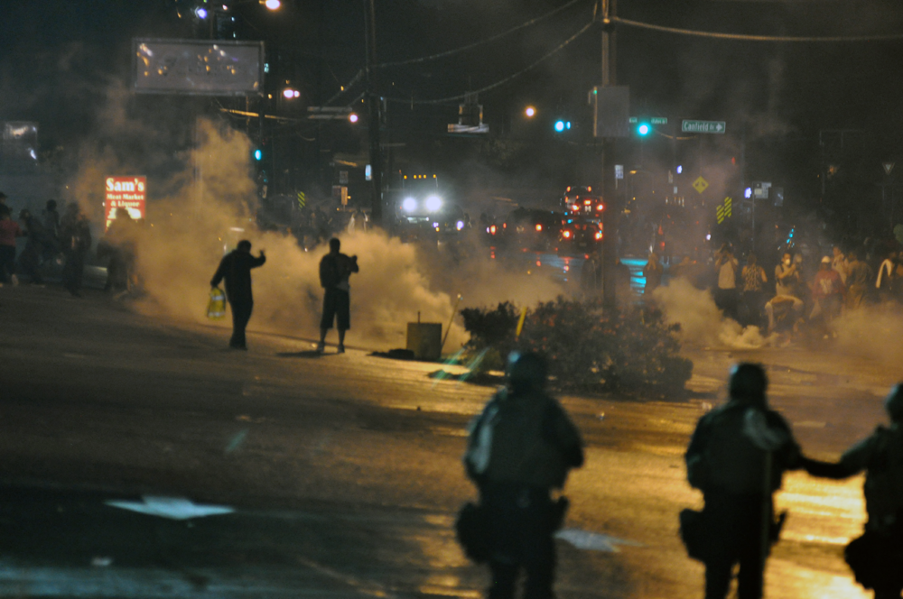 Police responded to Ferguson protests with tear gas, rubber bullets, smoke bombs and bean bag rounds over the nights of the 12 & 13 August, 2014. Photo: Loavesofbread.