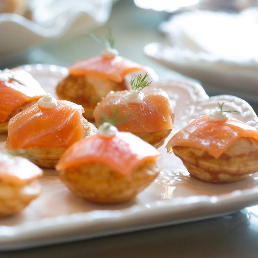 Smoked Salmon Mini Blini with Honeyed Mascarpone