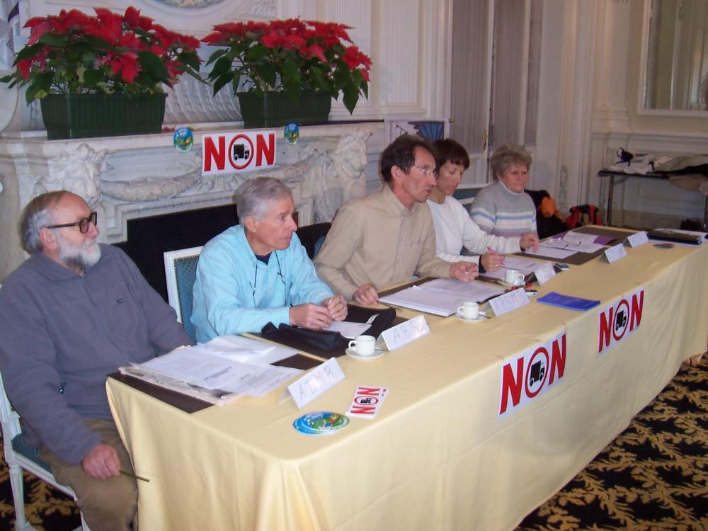 Janvier 2005, conférence de presse avant le blocage de la rampe d'accès du tunnel