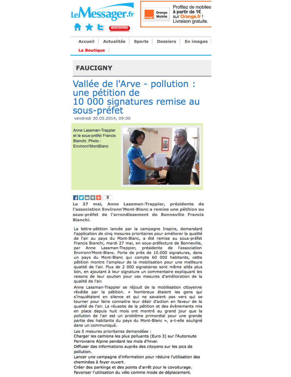Le Messager – 30 mai 2014