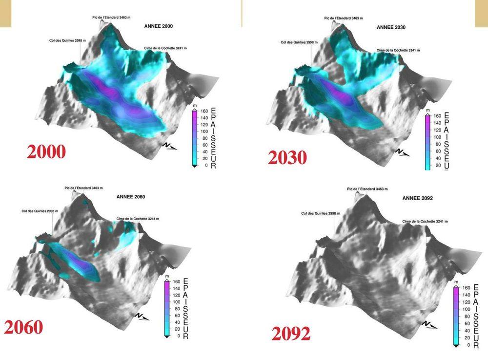 Glacier sous un sommet à 3 500 m (glacier St Sorlin)