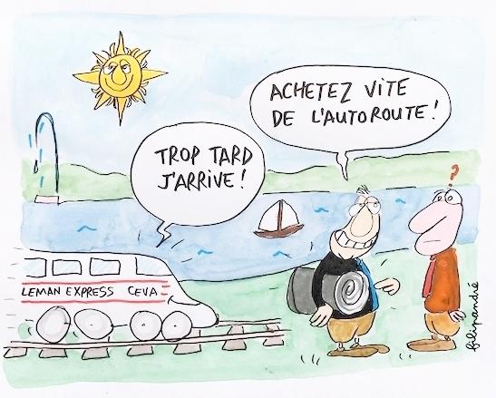 L'autoroute Machilly-Thonon a un train de retard - Le Léman Express arrivera fin 2019 pour désengorger la circulation en Haute-Savoie et offrir un parcours de 54 mn entre Thonon et Genève-Cornavin, sans les aléas de trafic de la route.Misions sur le RER franco-genevois, plus rapide, plus sûr, moins polluant et bientôt là, plutôt que sur l'autoroute.
