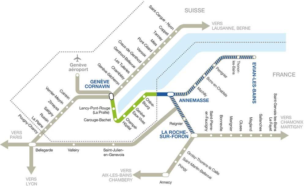 Plan du réseau du Léman Express - Le RER franco-valdo-genevois