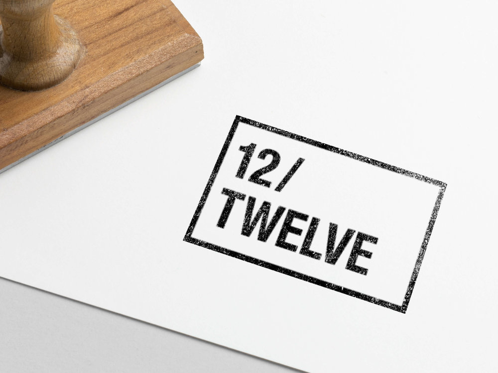 12/Twelve branding for John Khuu's 12/Twelve photography blog. Logo designed with a 4:3 aspect ratio to relate to the standard photography size and can be inverted to a fill.