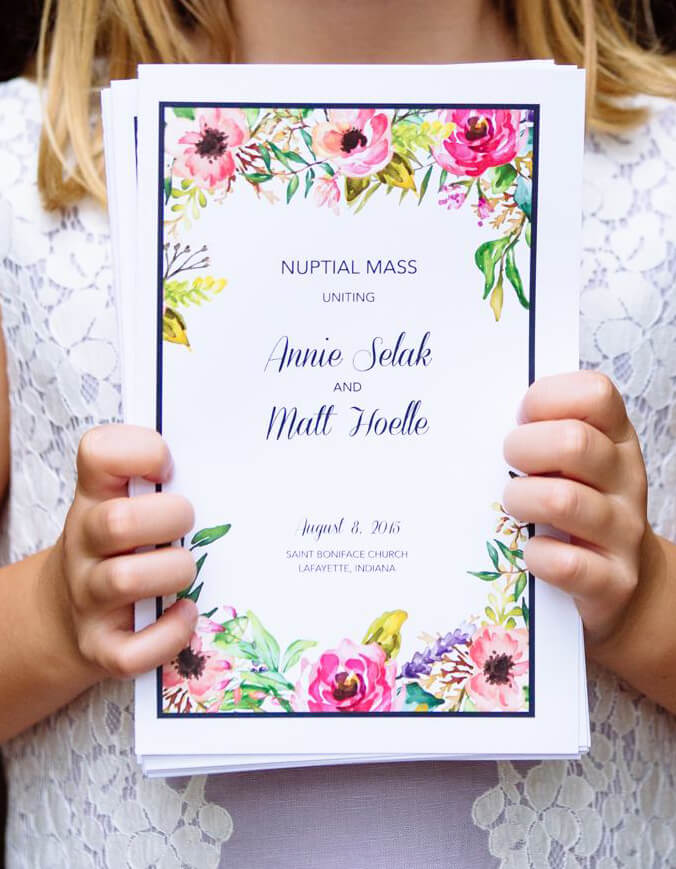 Wedding pamphlet for Annie and Matt Hoelle to celebrate their special say