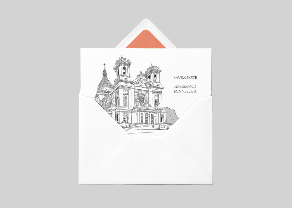 Digital Drawing of The Basilica of St. Mary in Minnesota for a Save the Date + other wedding needs