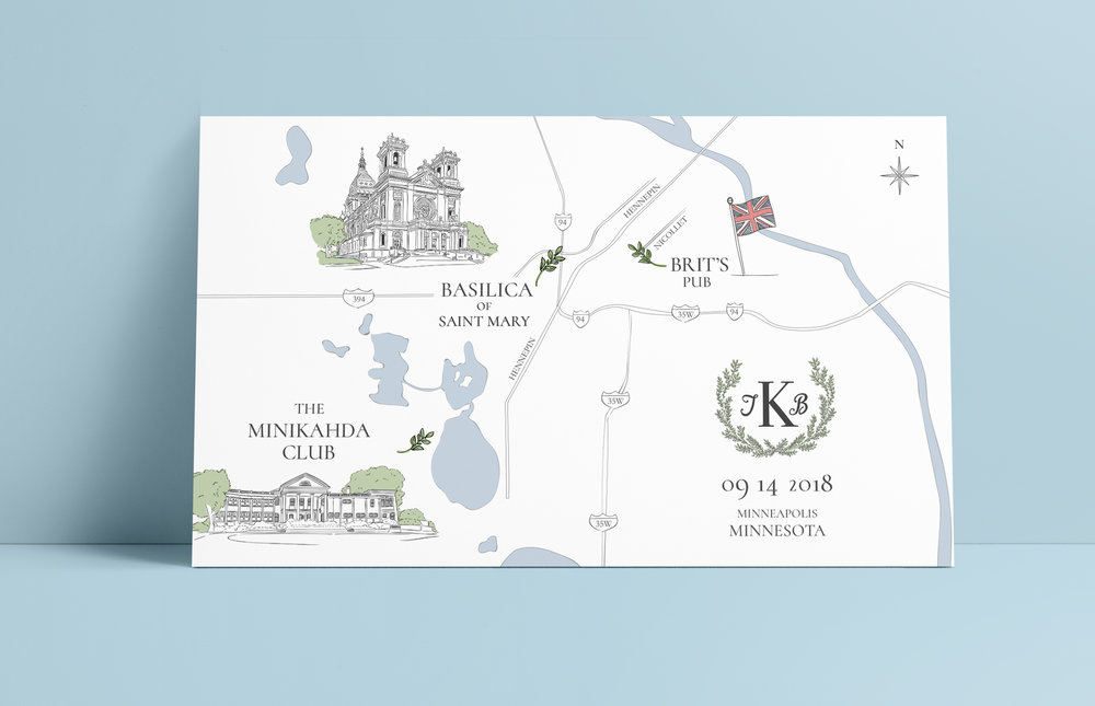 Illustrated map for the Kaminski Wedding weekend in Minneapolis