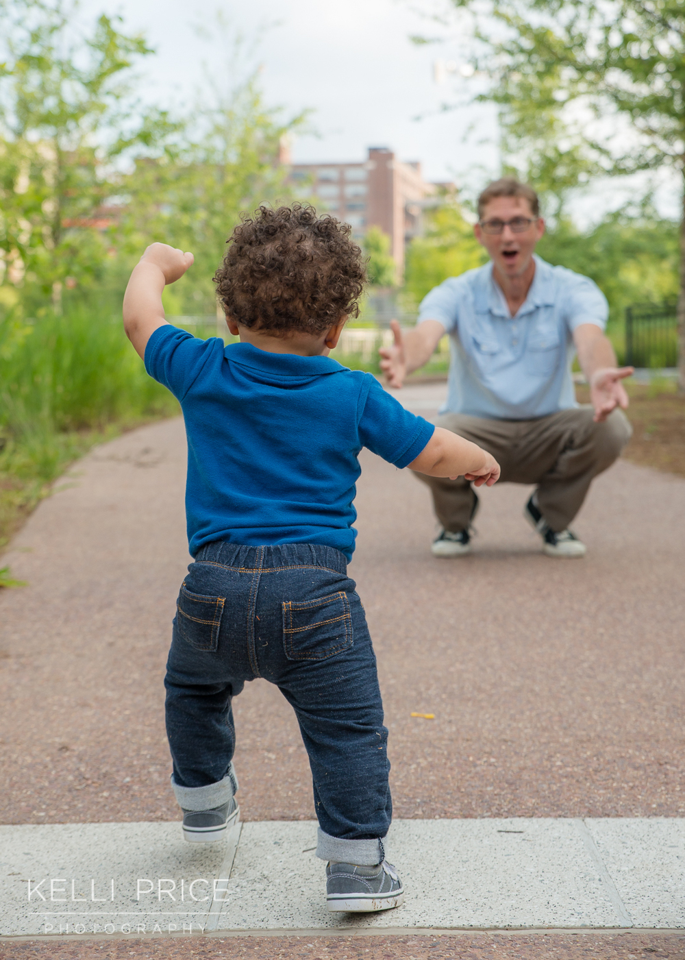 Running to Dad! 1 Year Old Family Session - Historic Old Fourth Ward Park, Atlanta, Georgia