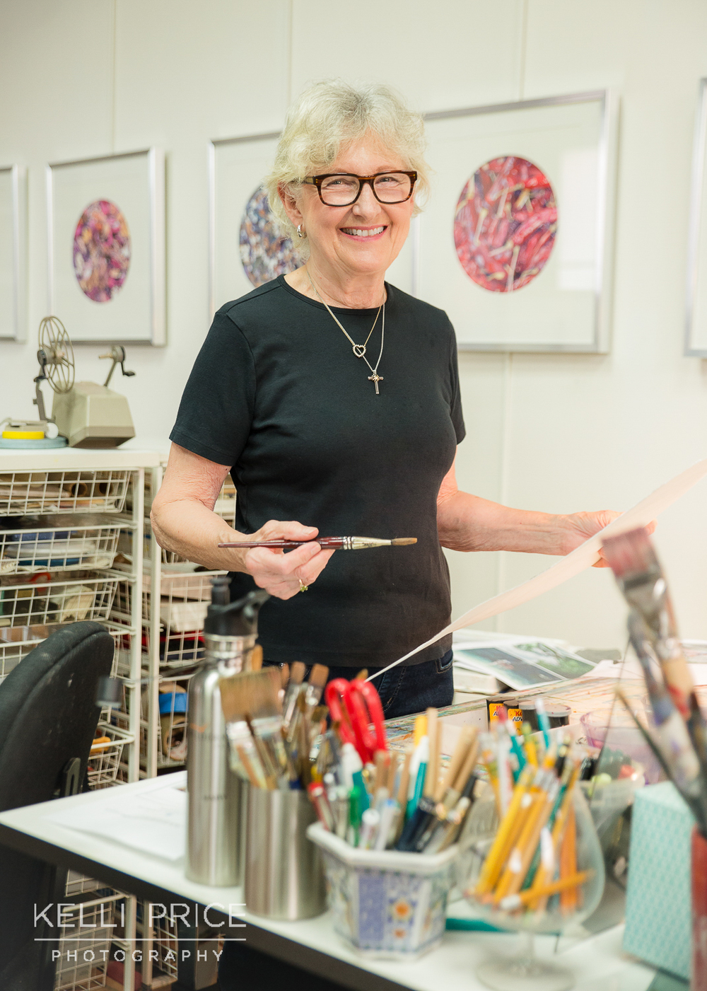 Artist Cathy in her studio at Studio Z. She was actually grabbing her tools for another location, when I turned around I snapped this perfect shot! Click on the image to learn more about Cathy.
