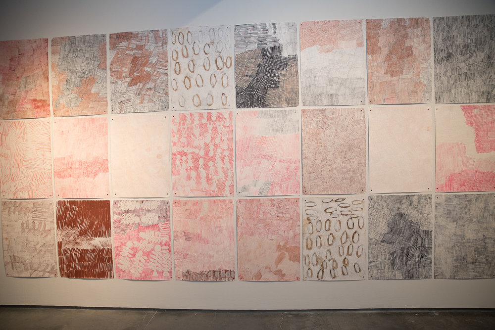 SOOC Behind the scenes shot:  A wall of beautiful pink (Melissa's signature color) & black paintings.