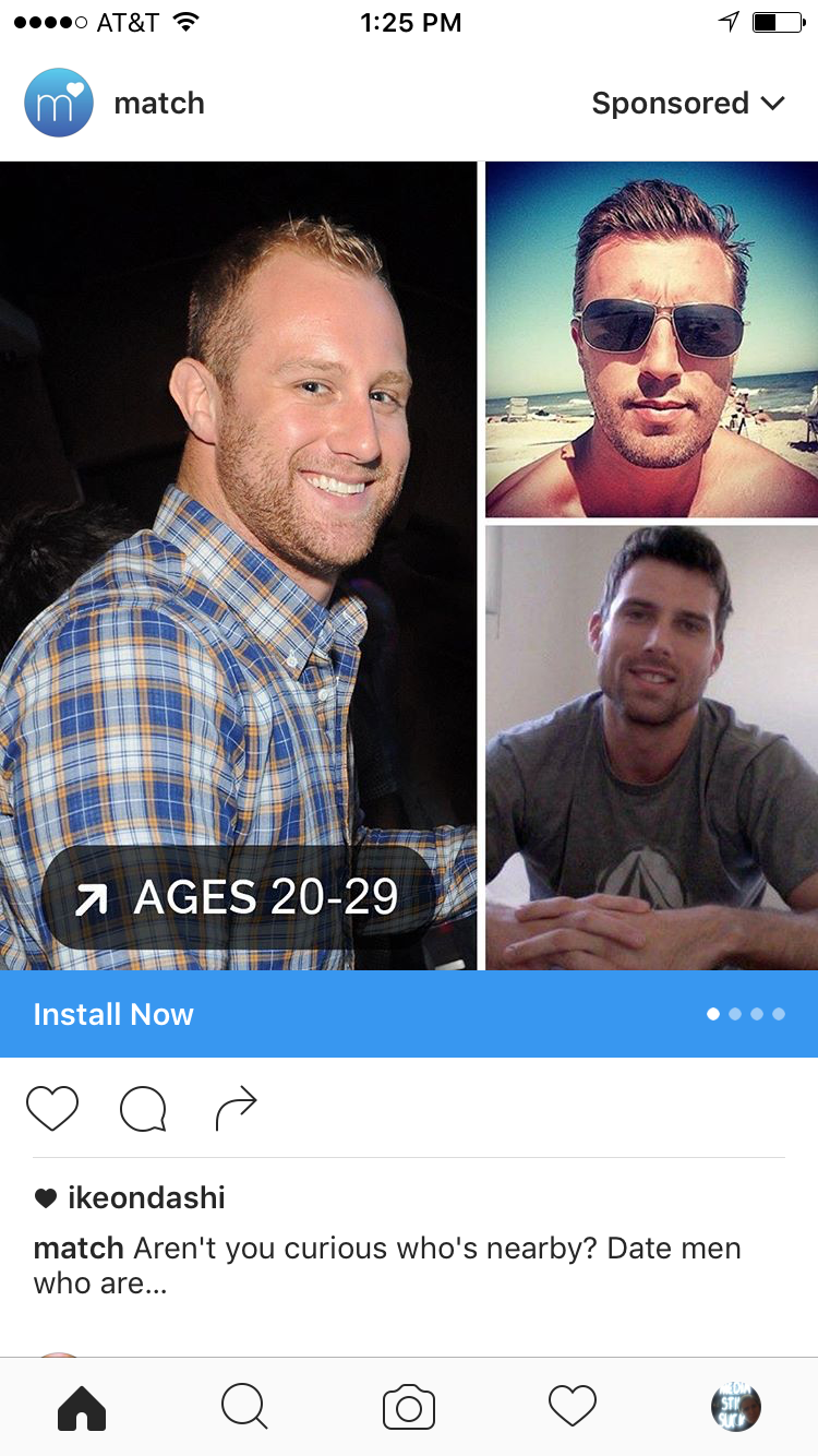 When this first showed up in my feed, I thought it was a failure on Match's part: I'm not swiping right on guys aged 20-29. Now I see the failure was mine.