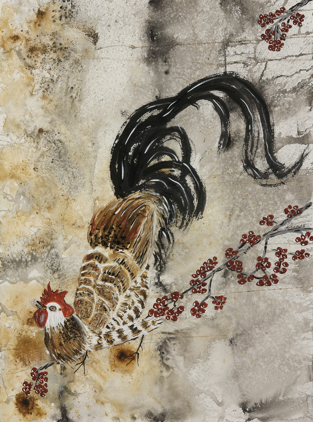 Japanese Rooster in Winter